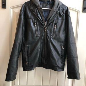 Men's CALVIN KLEIN Hooded Bomber faux Leather